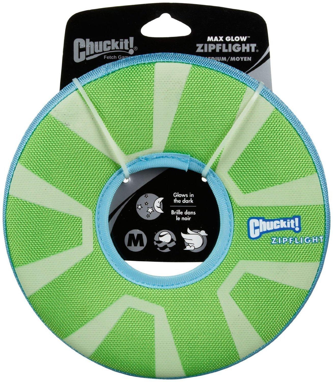 Chuckit! ZipFlight Max Glow Frisbee Dog Toy Bright Playtime at Night 2 Sizes