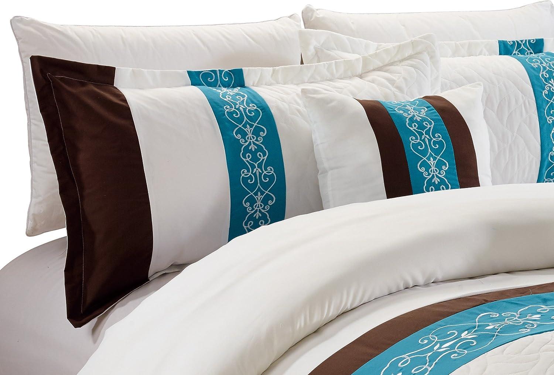 Teal-Queen Comforter Set RT Designers Collection Newton 5-Piece