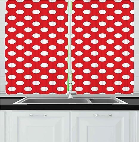 Amazon Com Ambesonne Retro Kitchen Curtains 50s 60s Iconic Pop Art Style Big White Polka Dots Picnic Vintage Old Theme Image Window Drapes 2 Panel Set For Cafe Decor 55 X 39
