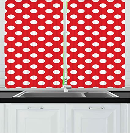 Ambesonne Retro Kitchen Curtains, 50s 60s Iconic Pop Art Style Big on