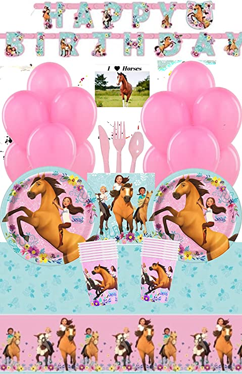 Spirit Riding Free Horse Party Supplies and Decorations Kit for 16 - Includes Birthday Banner, Plates, Cups, Tablecloth, Napkins, Balloons, Cutlery ...