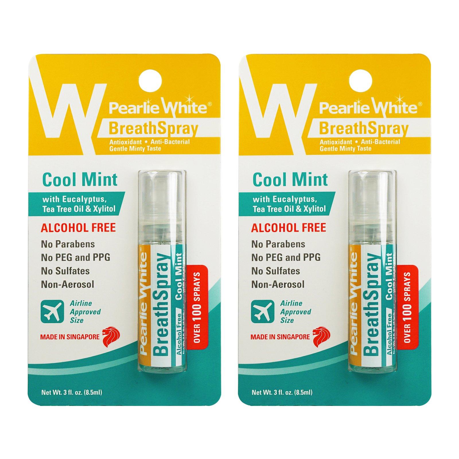 Pearlie White BreathSpray 8.5ml (100 Sprays) - Cool Mint, Pack of 2