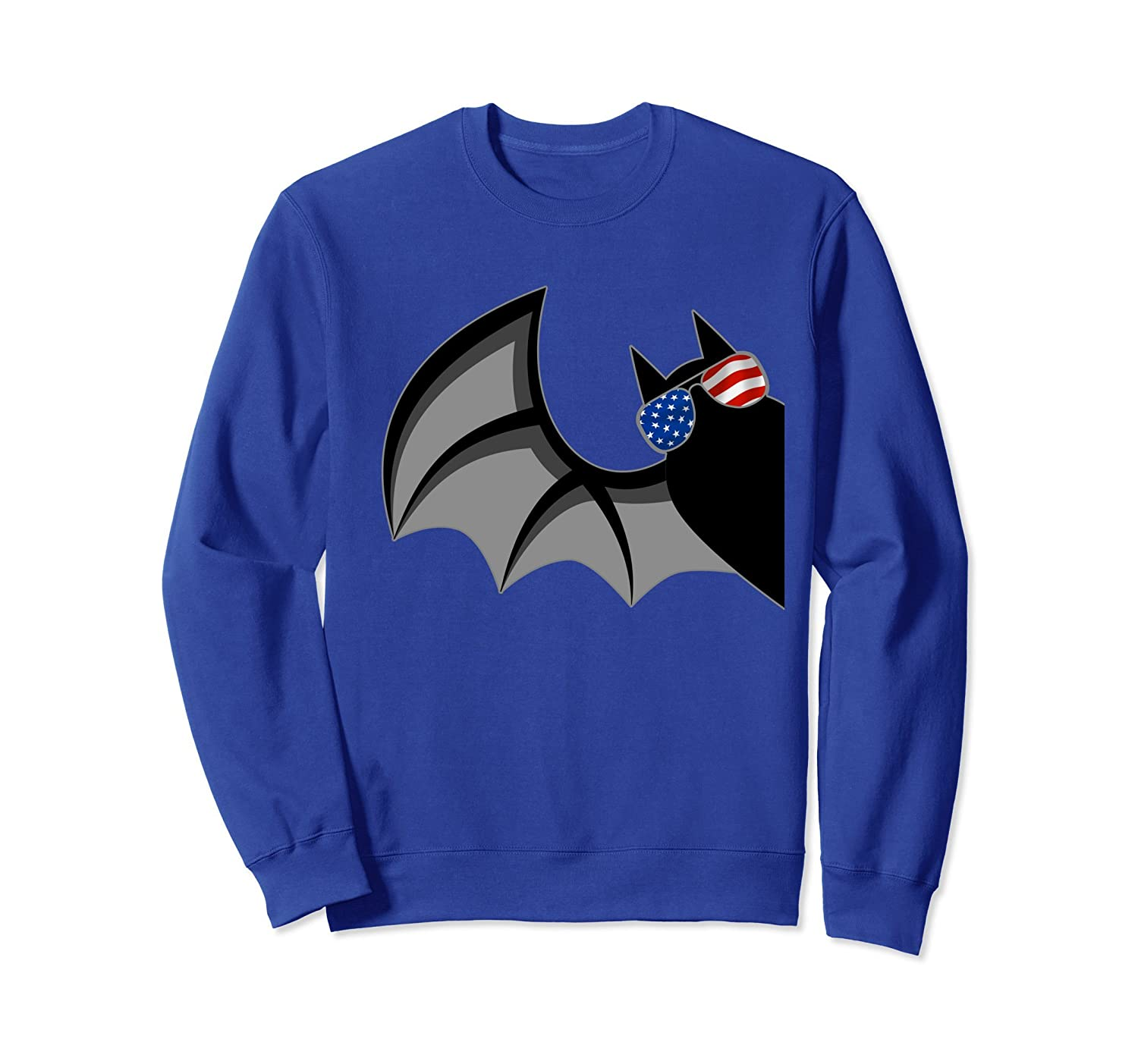 Bat with American Flag Glasses Funny Halloween Sweatshirt-Rose