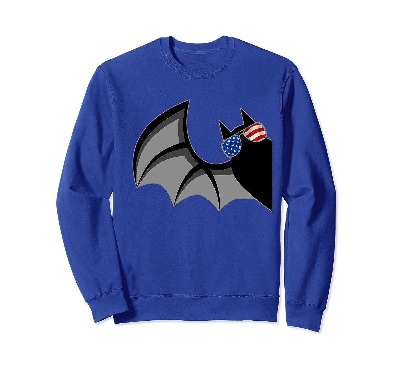 Bat with American Flag Glasses Funny Halloween Sweatshirt-Rose