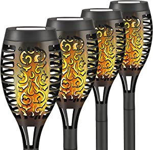 Liveasily Waterproof Outdoor Solar Torch Light with Flickering Flame, Solar Tiki Torches Landscape Decoration, Solar Pathway Lights for Garden Patio Driveway, 4 Count (Pack of 1)