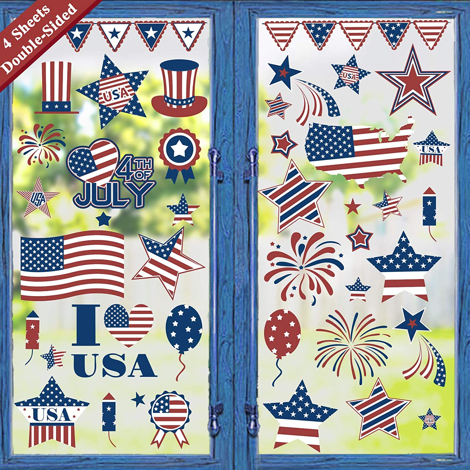 Ivenf 4th of July Decorations Window Clings Decor, July Fourth Patriotic Decorations for Home School Office, Stars Fireworks Flags Map Party Supplies, 4 Large Sheets 78 ct