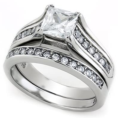stainless steel princess cut cz wedding ring set 5 - Cz Wedding Rings