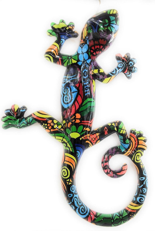 Salamandre en r/ésine 21 cm Motifs Multicolores sur Fond Noir Pec as de coeur