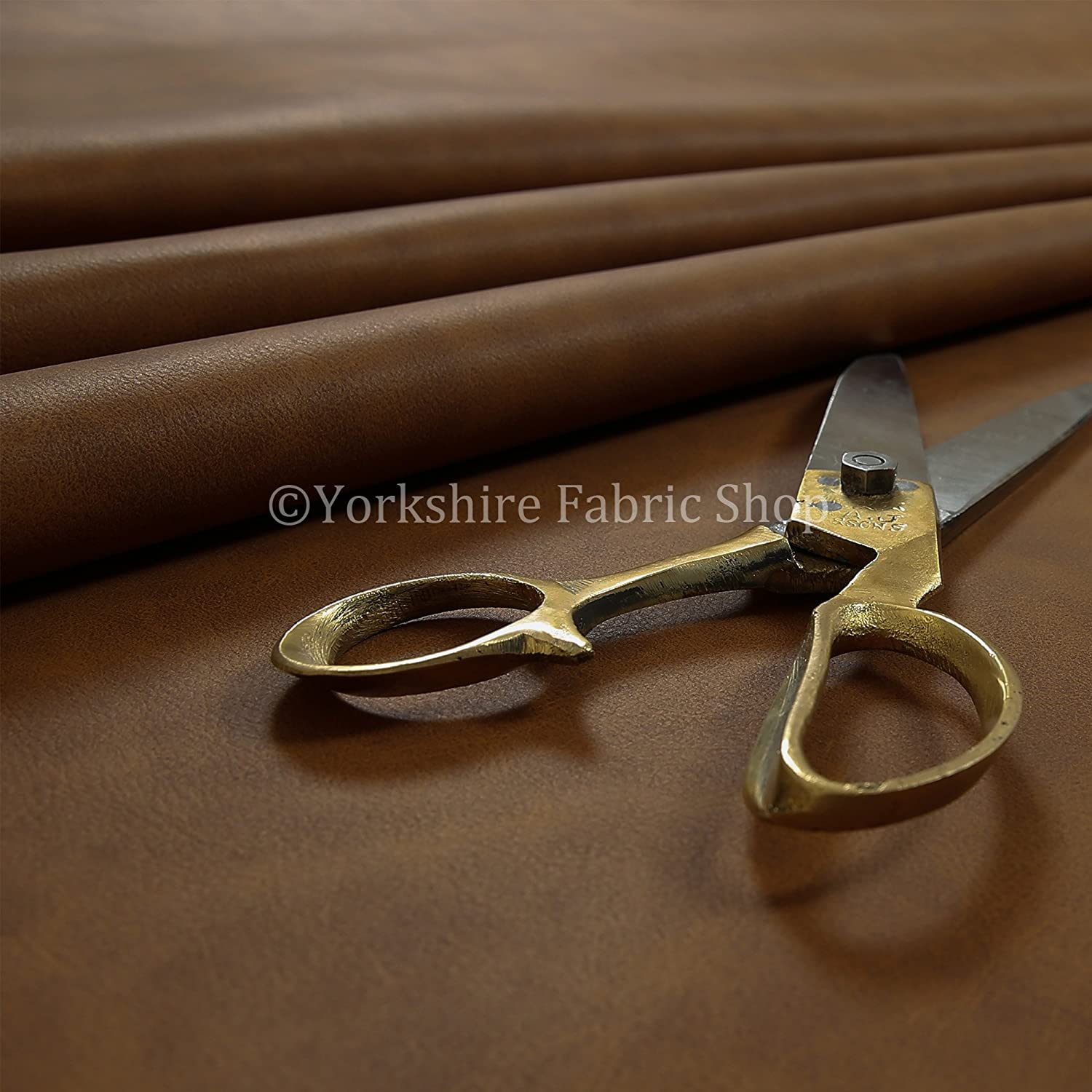Aged Heritage Look Faux Suede Leatherette Material Upholstery Fabric Soft Brown