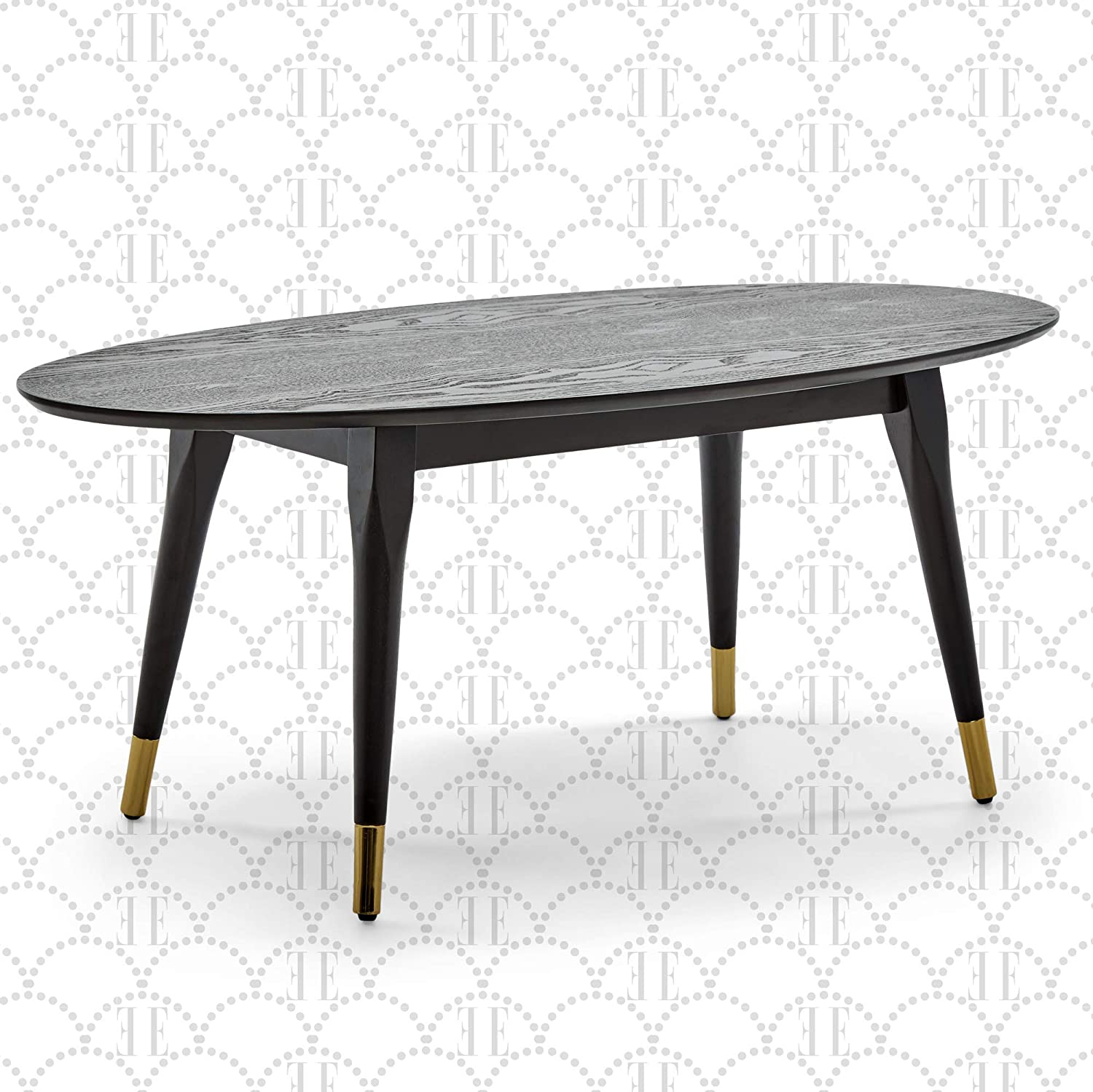Elle Decor Clementine Mid-Century Modern Living Room Furniture Collection, Oval Coffee Table, Cocoa