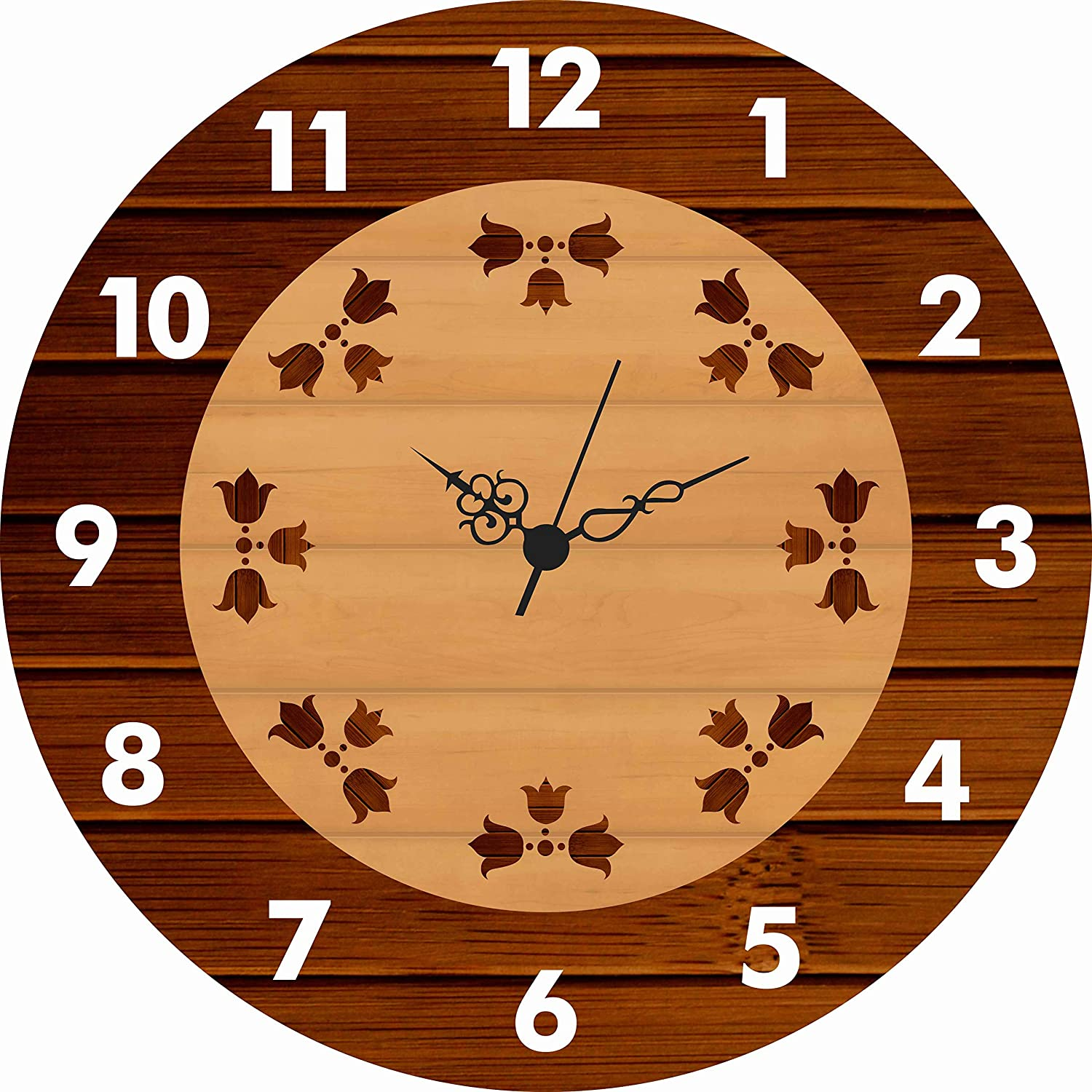 5.)Generic, World Space UV Printed Designer Wall Clock for Home & Office Decor (32 x 32 cm) (Without Glass)(Black Flower)