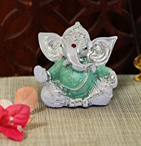 TIED RIBBONS Silver Plated Ganesh Ji Murti Idol Figurine Statue (2.75 inch X 2 Inch) - Ganesha Idol for Home Décor car Dashboard