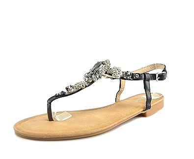 Zehentrenner Sandalen Strass Schuhe Riemchensandalen Sandaletten Strandschuhe Flip-Flop Flach, Damen 0009927 (40, Silber (Modell 1))