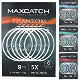 Maxcatch Fly Fishing Tapered Leader Line 6 Pack -Pre-Tied Loop- Tensile Strength- Abrasion Resistance- Low Memory 7.5ft/9ft/1