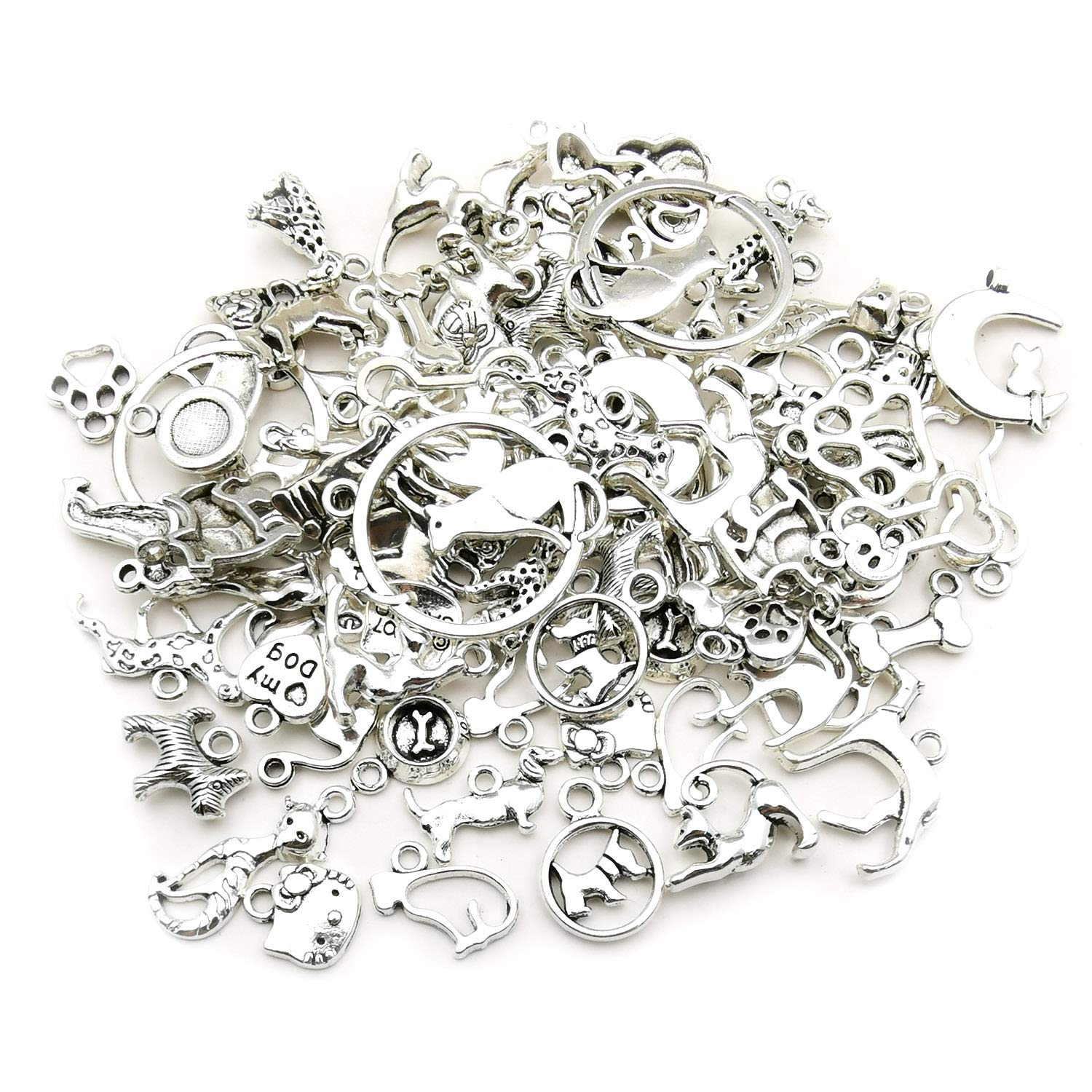 WOCRAFT 100g Craft Supplies Small Antique Silver Animals Sun Satr Charms Pendants for Crafting Jewelry Findings Making Accessory for DIY Necklace Bracelet M289