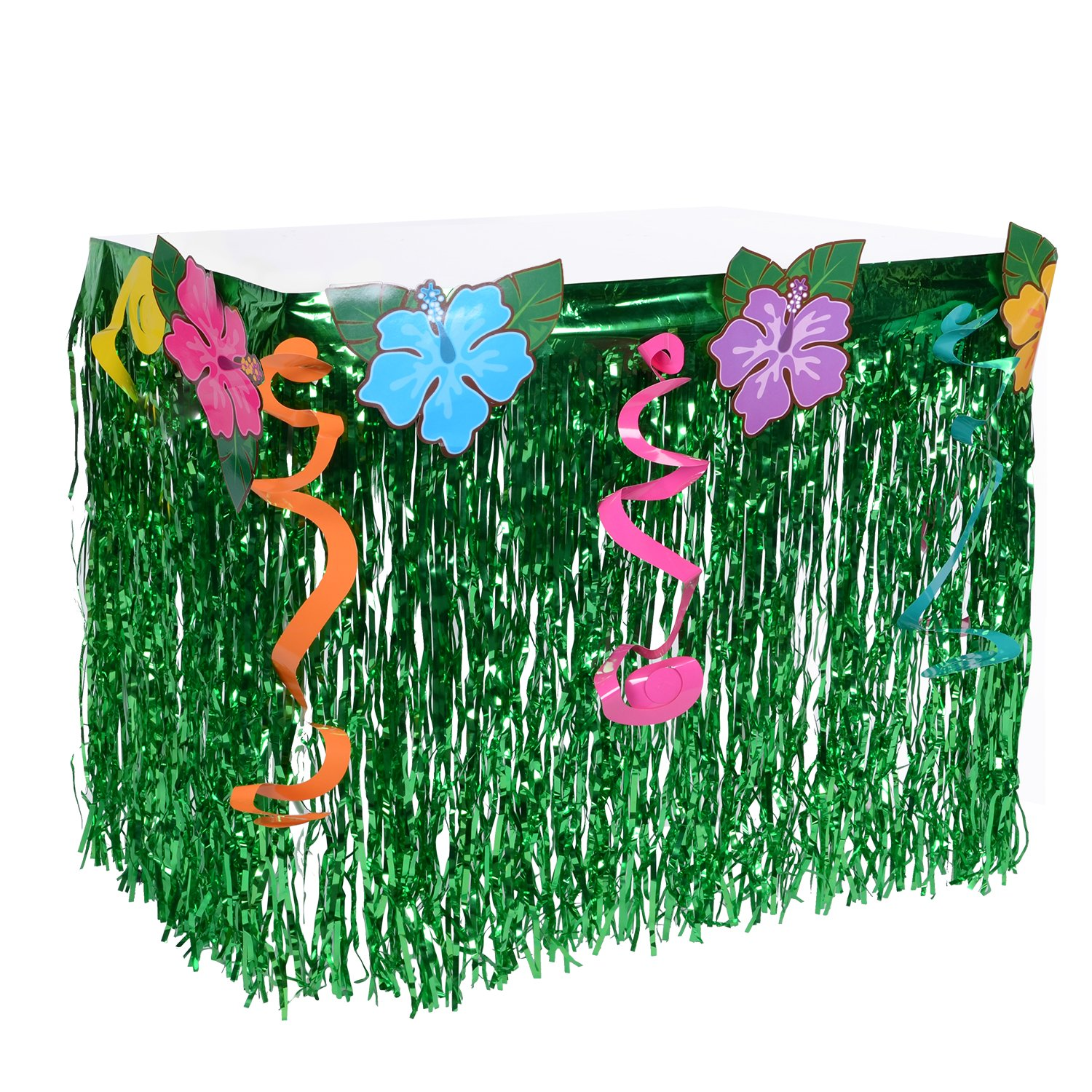 Great Hawaiian Luau Hibiscus Table Skirt   Wonder4 Green Flowered Artificial  Grass Table Skirt 9ft With Musical Symbols U0026 Colorful Faux Flowers For  Party ...