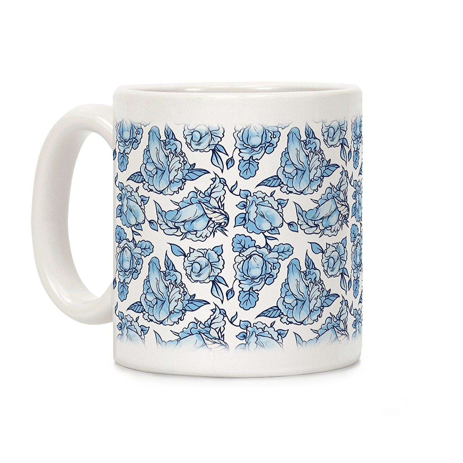 LookHUMAN Floral Penis Blue White 11 Ounce Ceramic Coffee Mug