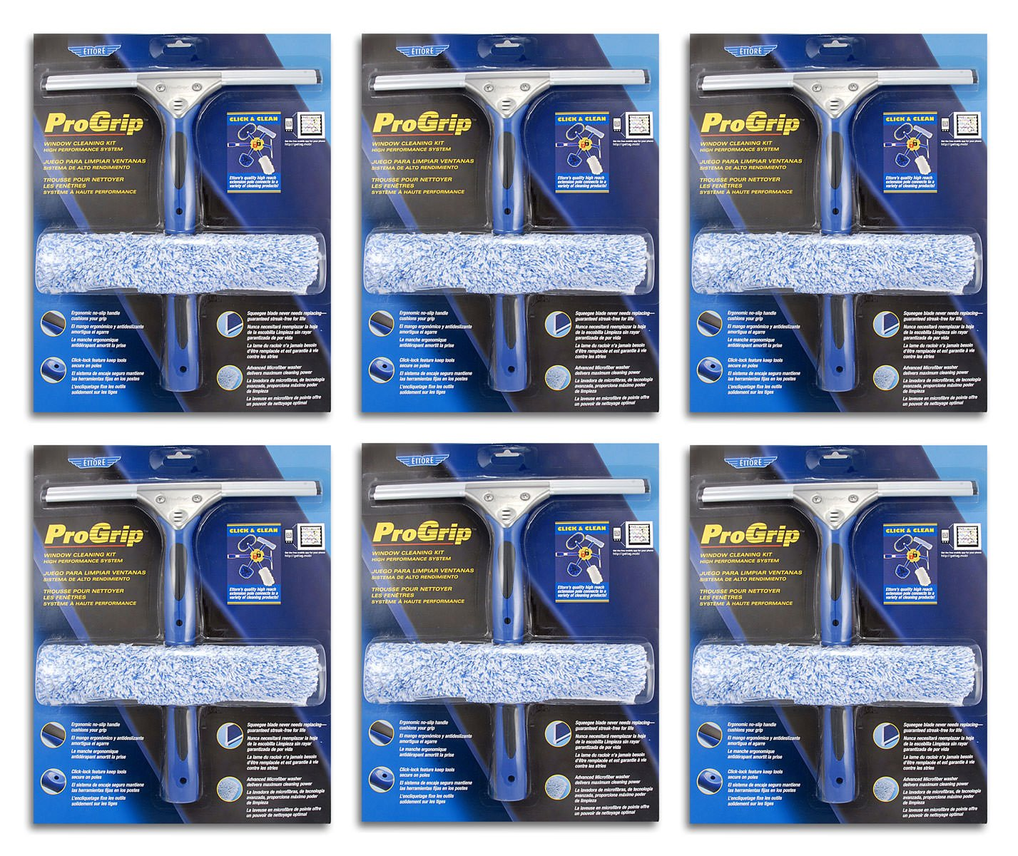 Ettore 65000 Professional Progrip Window Cleaning Kit, 6 Pack by Ettore