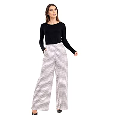 ec9de0407b7e9 Verso Fashion Women s New Wide Leg Check Print Trousers  Amazon.co ...