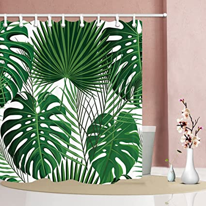 NYMB Green Tropical Plants Shower Curtains For Bathroom Abstract Exotic Palm With Monstera Leaves