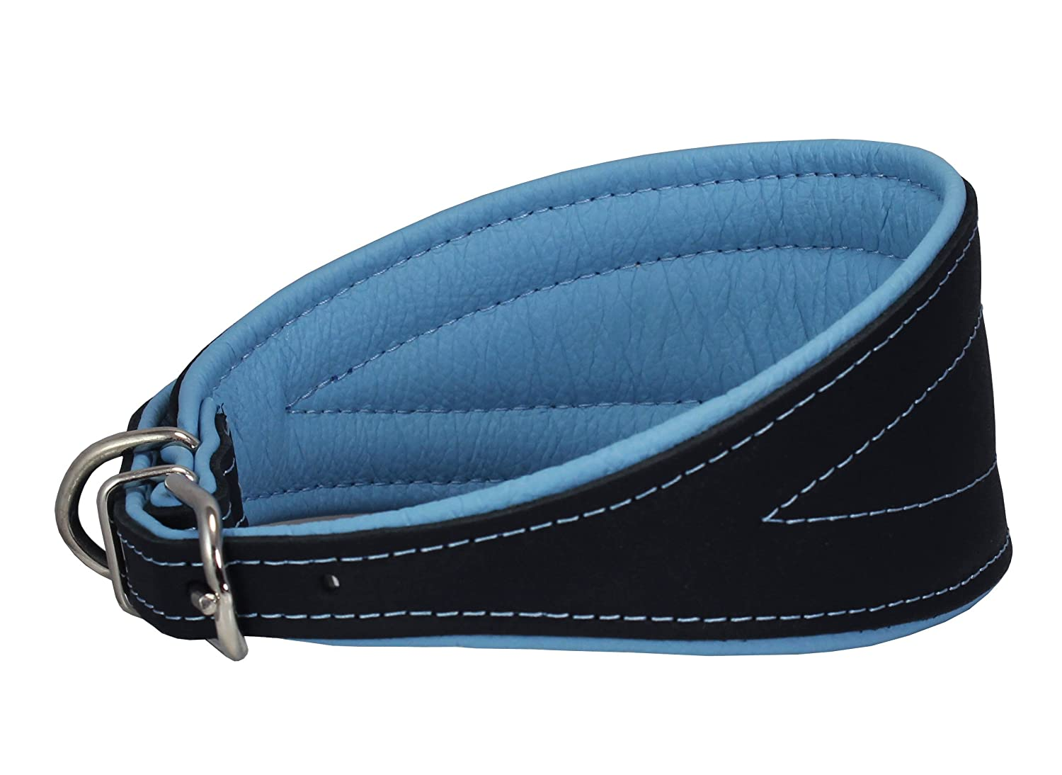 Baby-bluee 16.75\ Baby-bluee 16.75\ Real Leather Extra Wide Padded Tapered Dog Collar Glossy Black Greyhound Saluki Deerhound Lurcher Whippet Dachshund (16.75 -20  Neck; 3  Wide, Baby-bluee)