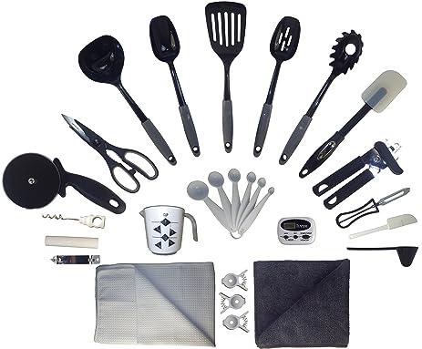 Kitchen Apartment Essentials Starter Kit Supplies   Tools, Gadgets U0026  Utensils Set For Non Stick