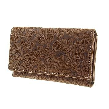 Herren Geldbörse Leder Portemonnaie Portmonee Brieftasche Vintage Groß Braun neu