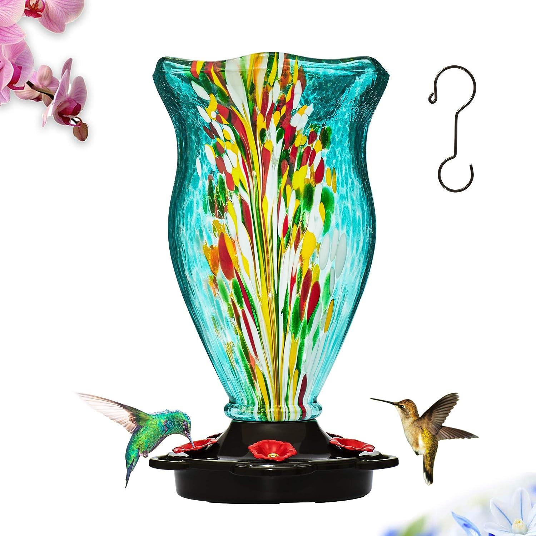LUJII Hummingbird Feeder with Ant Guard Function, As a Vase, Hand Blown Glass Hummingbird Feeder, Never Fade, 40 Fluid Ounces, 5 Feeding Metal Stations, More Biger, Garden Decorative (Blue)