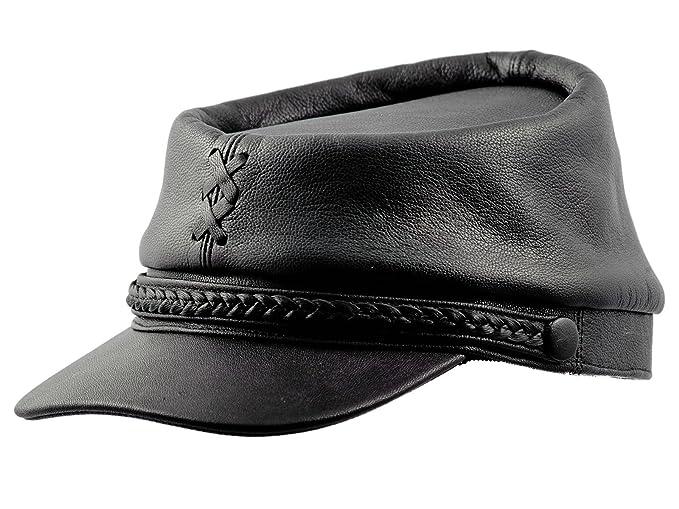 Sterkowski Genuine Leather Secession Kepi Civil War Cap US 6 3 4 Black 5b48b7a9279e