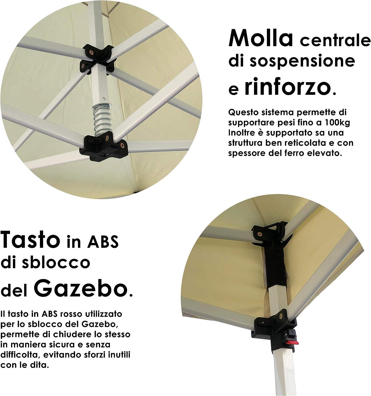 STS Gazebo 3x3 a Fisarmonica Richiudibile in Acciaio Robusto con Sacca Omaggio per Trasporto