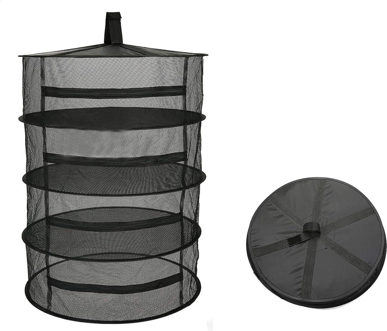 Herb Drying Rack Net Dryer 4 Layer 2ft Black W Zippers Mesh Hydroponics Mesh Collapsible Hanging Dryer Net Lights Carrying Case Indoor & Outdoor