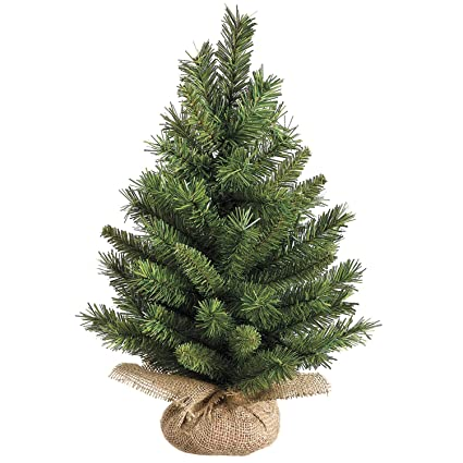 18 inch high x 12 inch wide tabletop christmas pine tree with burlap base