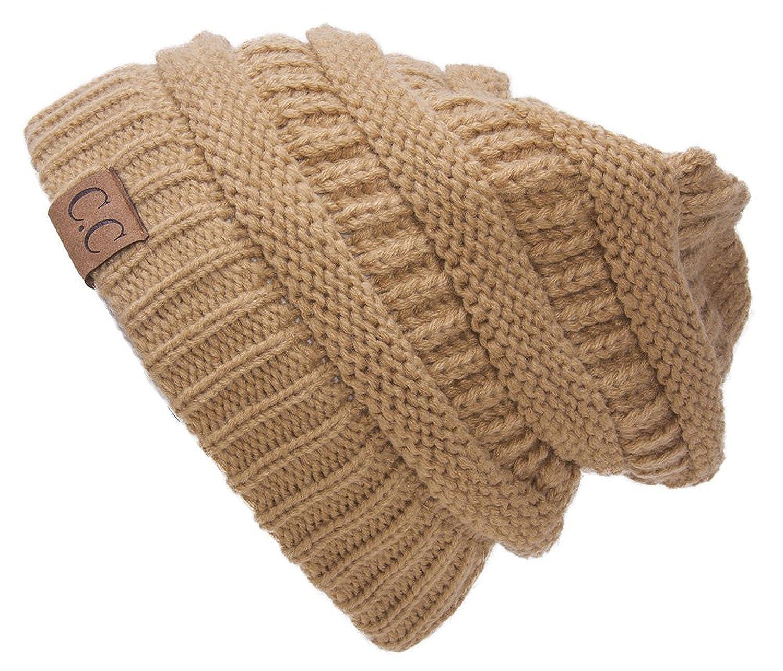 trendy warm chunky soft stretch cable knit beanie skully 2 tone