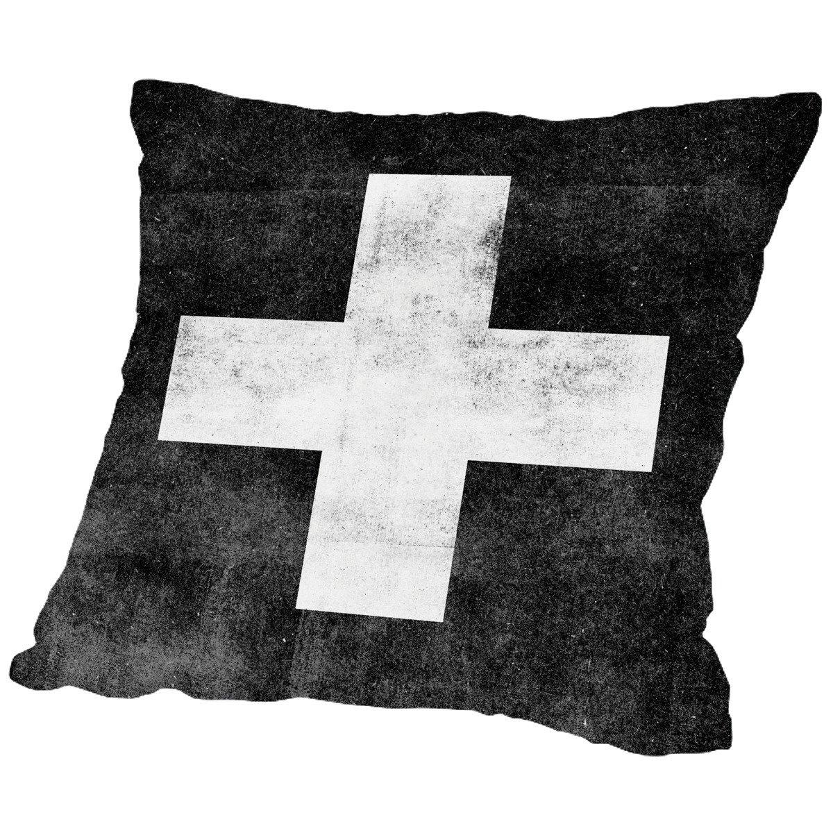 American Flat Swiss Cross On Black Pillow by Brett Wilson, 16'' x 16''