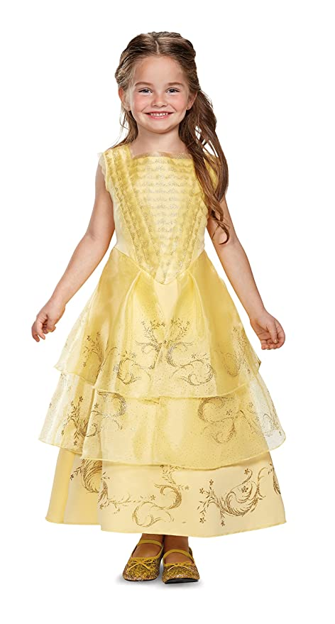 Amazon.com: Disney Belle Ball Gown Deluxe Movie Costume, Yellow ...