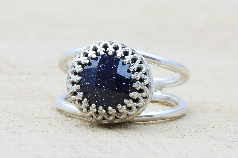 Goldstone ring, silver ring, silver stone ring, navy blue ring, blue ring, sterling silver ring, promise ring