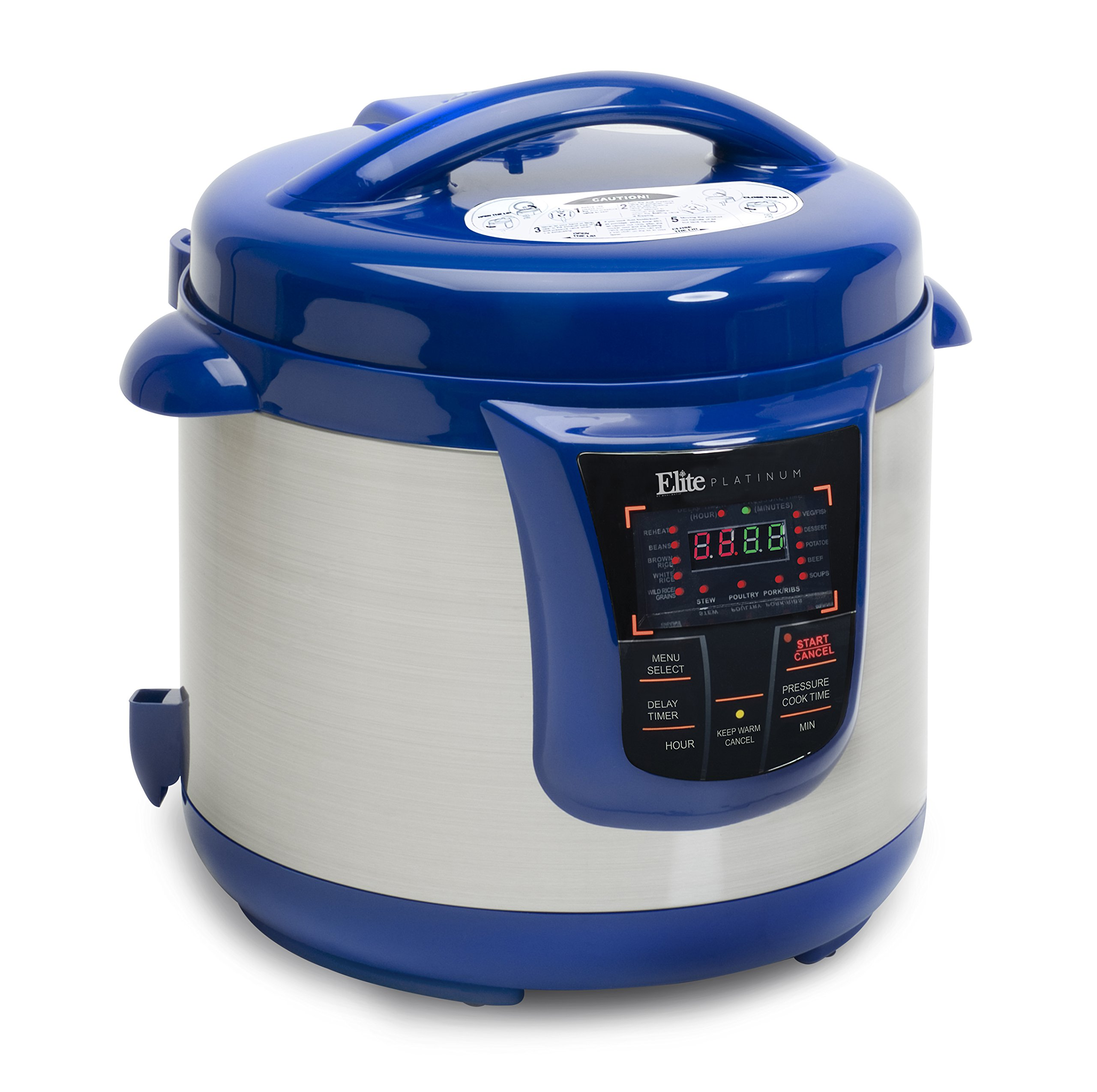 Elite Platinum 8 Quart 14-in-1 Multi-Use Programmable Pressure Cooker, Slow Cooker, Rice Cooker, Sauté, and Warmer - Blue