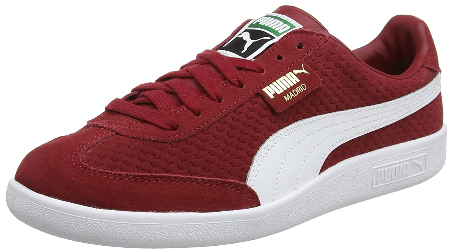 Puma Unisex-Erwachsene Madrid Perforated Suede Sneaker  43 EU|Rot (Red Dahlia-puma White-puma Team Gold)