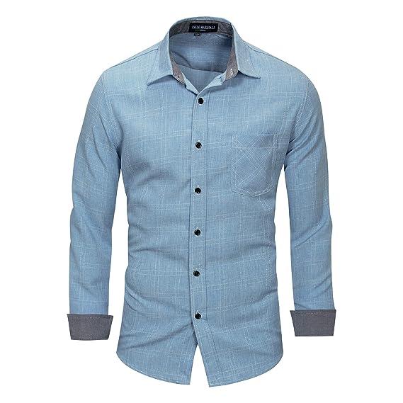 Pinkpum Herren Freizeithemd Langarm-Hemd aus Baumwolle B/ügelleicht Kontrastfarbe f/ür Business Hochzeit Regular Fit S-XXL