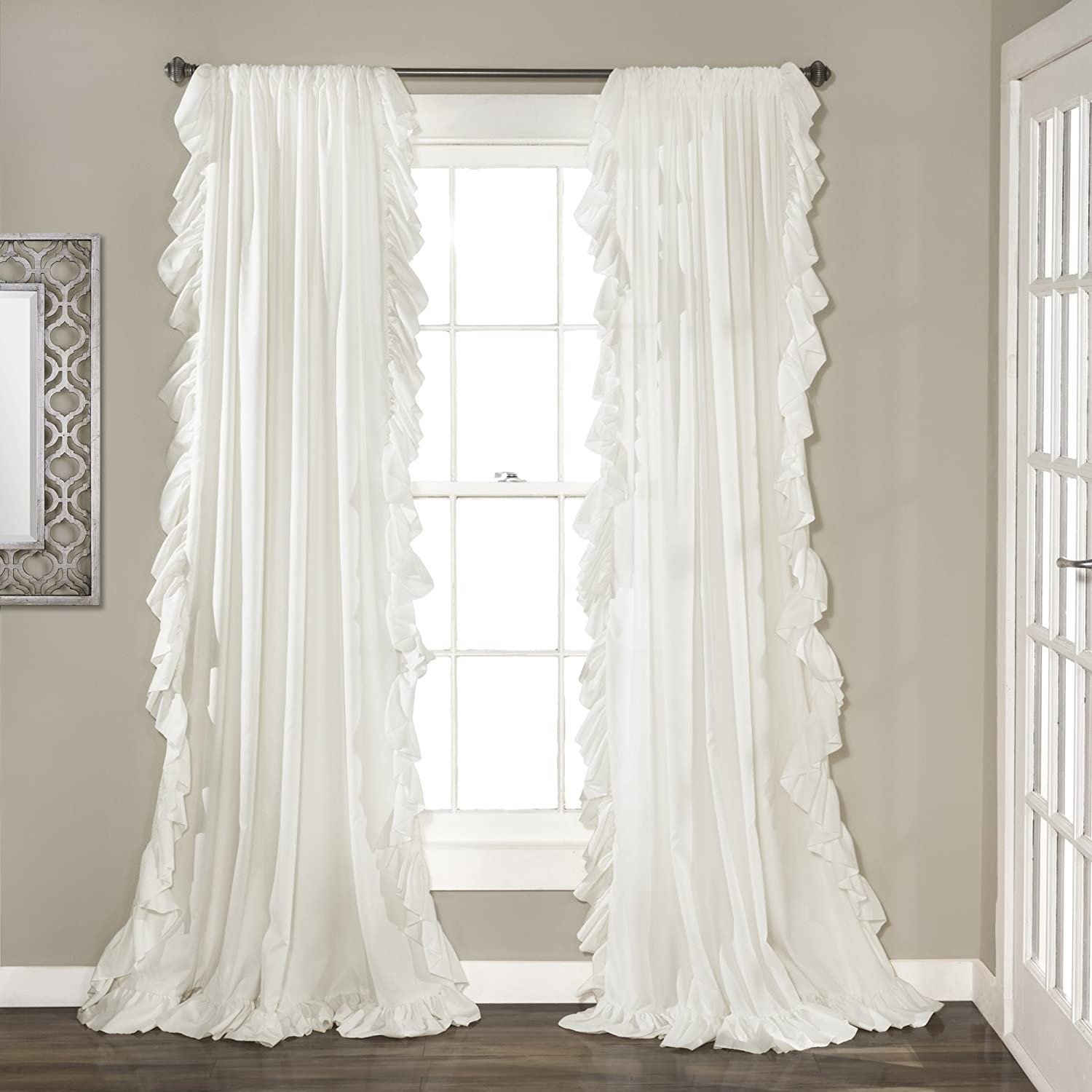 "Lush Decor Reyna White Window Panel Curtain Set for Living, Dining Room, Bedroom (Pair), 84"" x 54"","