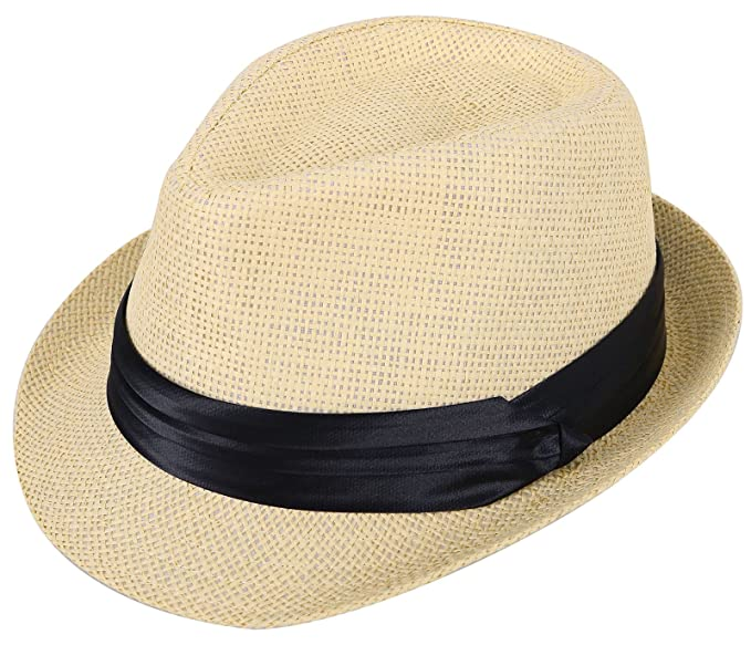 faede44c99752 Kids Fedora Hats Boys Straw Sun Hats for Kids with Black Band Accent Beige