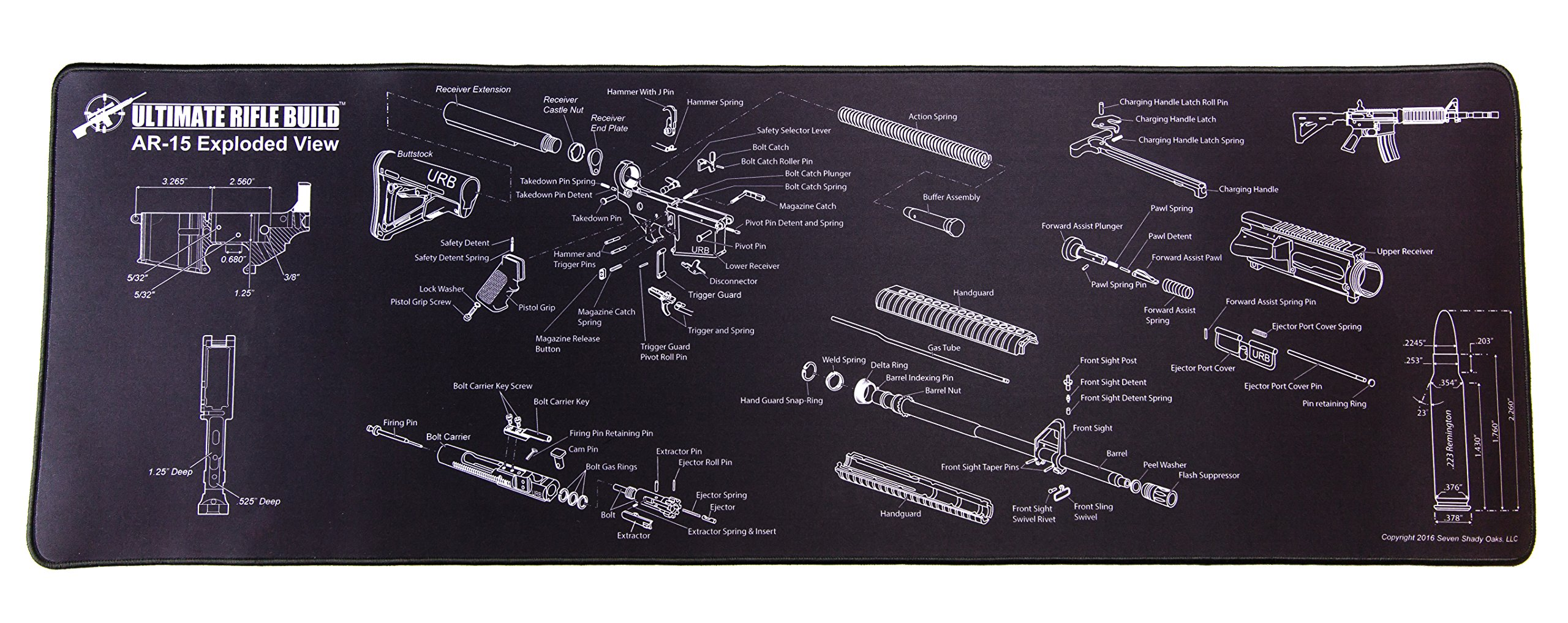 Ultimate Rifle Build Gun Cleaning Mat with Exploded Parts Diagram and Bonus Magnetic Parts Tray Measuring 12''x36''