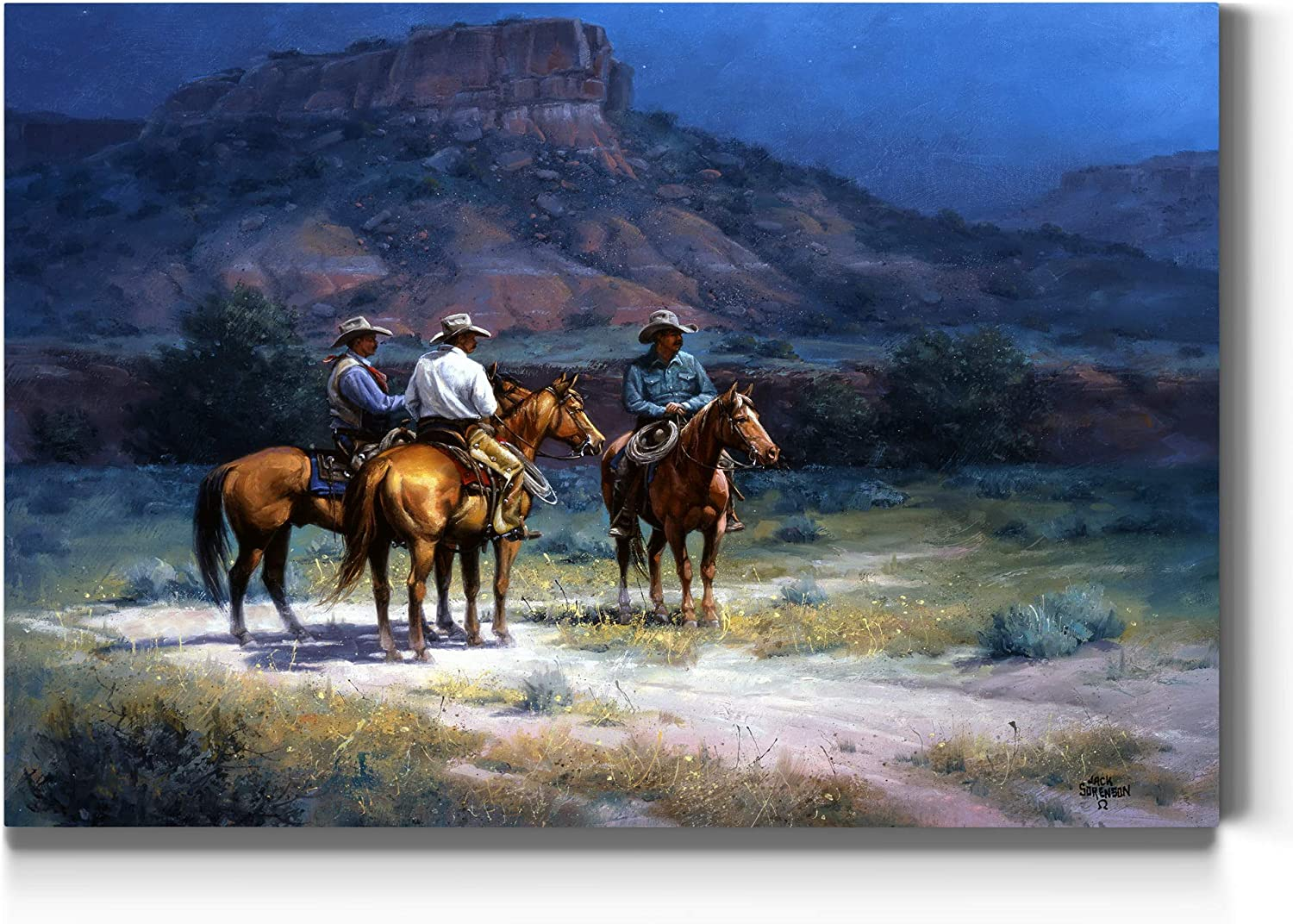 Renditions Gallery Moonshine Wall Art, Three Cowboys at The Basin of a Mountain at Night, Southwestern, Premium Gallery Wrapped Canvas Decor, Ready to Hang, 24 in H x 36 in W, Made in America Print