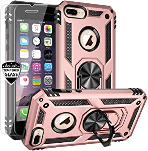 AUPAI iPhone 8 Plus Case,iPhone 7 Plus Case with Screen Protector,Heavy Duty Rugged Cover with Magnetic Ring Kickstand for Car Mount Holder,Protective Phone Case for iPhone 7 Plus/8 Plus Pink