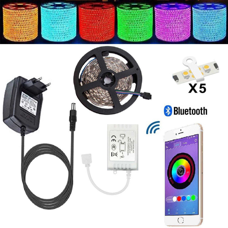 LED Strip TENLION Led Stripes 5m Licht Streifen Bluetooth Smartphone Kontrolliert Apparaturen des Led Streifen Lichterkette RGB 5 Meter 150 Licht 5050 nicht wasserdichter Lampenband +12V 3A Elektrizitätsquelle geeignet für Android und IOS