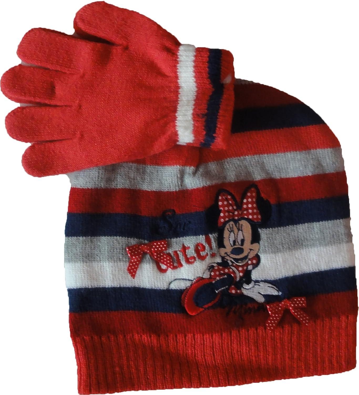 Disney Minnie Maus Winterset Handschuhe-M/ütze in Grau oder Rosa gestreift Gr 52 oder 54