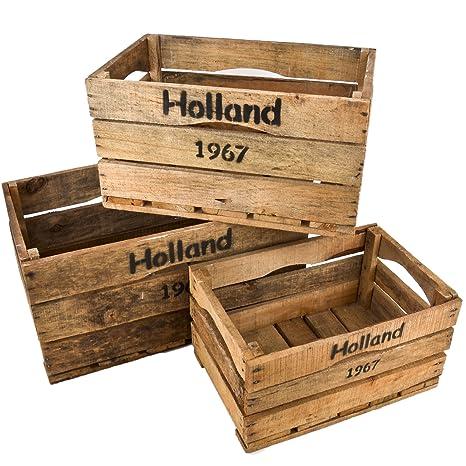 Cajas de madera 3er establecer Holanda 67 Motiv Vintage-Used Design de colour marrón cajas