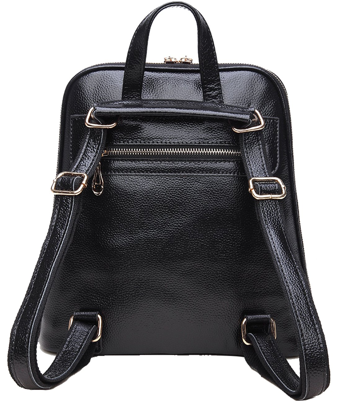 564ae8850019 Coolcy New Fashion Women s Genuine Leather Backpack Casual Shoulder Bag ( Black)