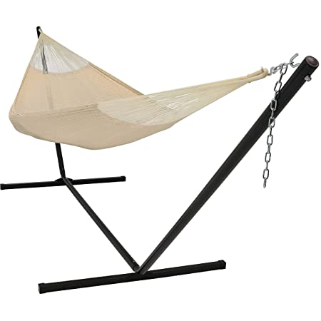 Sunnydaze Hand-Woven 2 Person Mayan Hammock with Stand, Double Size, Natural, 400 Pound Capacity
