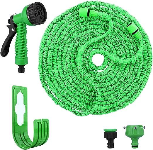 Manguera de jardín flexible, 100 FT 30 m, manguera de agua flexible, manguera de jardín flexible con 8 modos, soporte para manguera de riego de jardín, lavado de coches, limpieza de mascotas: